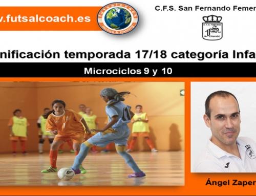 Microciclos 9 y 10. (4 sesiones). Planificación del C.F.S. San Fernando Femenino. Infantiles 17/18