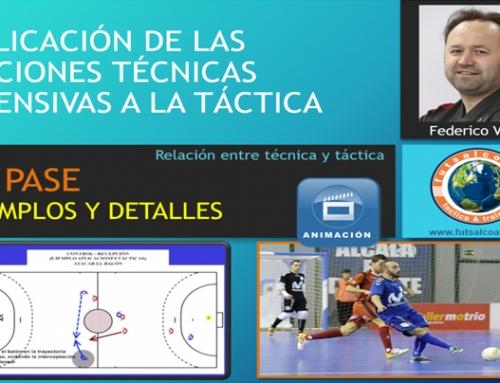 Aplicación de las acciones técnicas ofensivas a la táctica. El pase. Ejemplos y detalles.