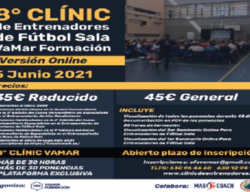 Los suscriptores de FUTSALCOACH podrán beneficiarse de un descuento en el 8º ClÍnic de entrenadores de Fútbol sala VaMar Formación